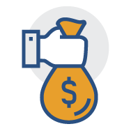 Hand holding money bag icon