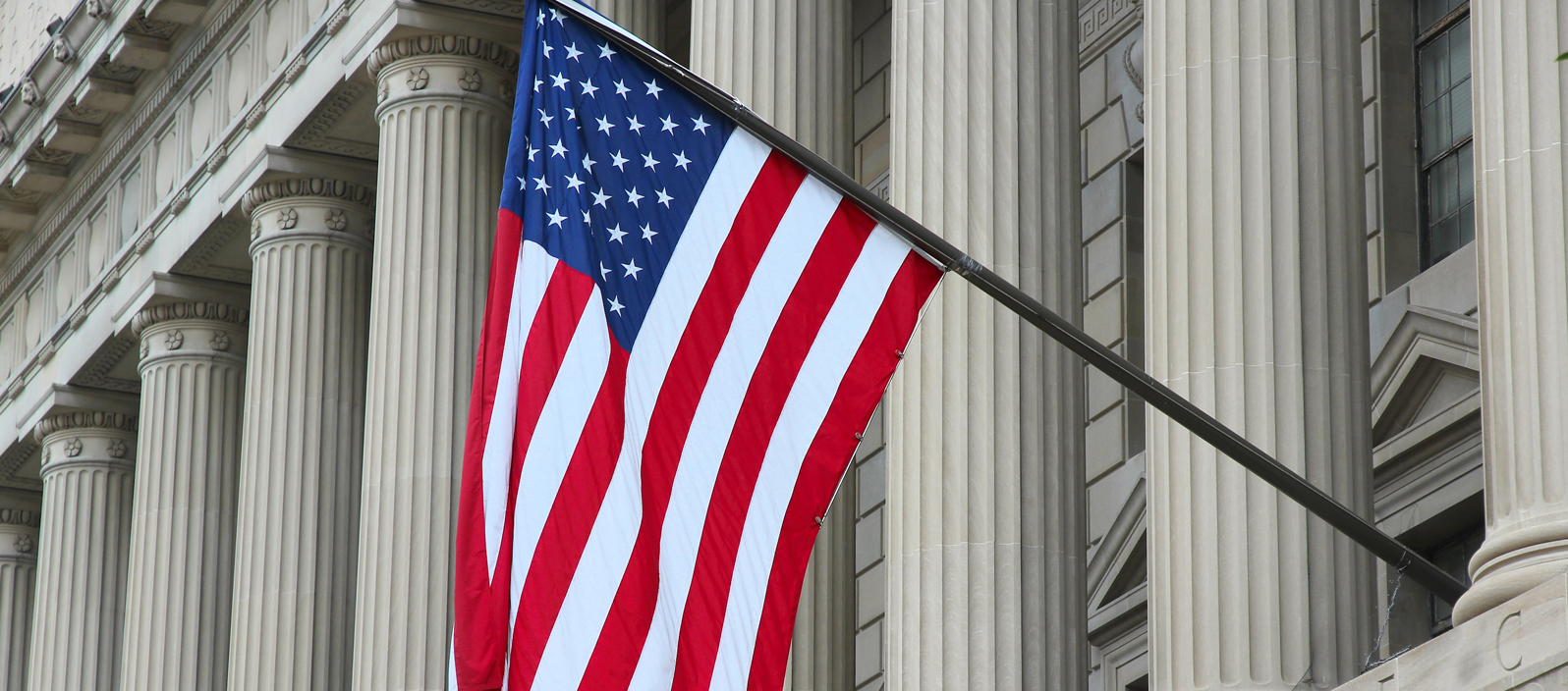 American flag on a Government building